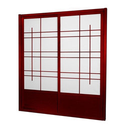 Oriental Furniture - 7 ft. Tall Eudes Shoji Sliding Door Kit (Double - Sided) - Rosewood - This fantastic Eudes Shoji Sliding Door Kit comes with two sliding doors, top and bottom tracks, and right and left door jambs. Its wonderful modern design has an art deco feel with large geometric lattice work.