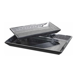 "Uttermost - Uttermost Alanna Trays (Set of 2) - Uttermost Alanna Traysis a Part of Grace Feyock Designs Collection by Uttermost These decorative trays are constructed of multiple polished, beveled mirrors. The trays inner sides are accented by small, round convex mirrors. Outer edge is matte black. Sizes: Sm-18""x2""x10"", Lg-22""x2""x14"" Tray (2)"