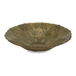 Peacock Feather Glass Bowl - *Perfect for any occasion, the Harding glass serving bowl is food safe and can be used to serve a favorite dish or to display a variety of materials.
