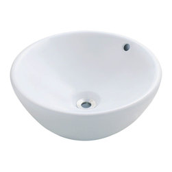 """MR Direct - MR Direct V2200-W White Porcelain Vessel Sink - The V2200-White porcelain vessel sink offers a unique, modern look for any bathroom. It is made from true vitreous China, which is triple glazed and triple fired to ensure your sink is durable and strong. Because this sink is a vessel, no mounting hardware is needed. The overall dimensions for the V2200-White are 16 1/8"""" x 6 3/4"""" and an 18"""" minimum cabinet size is required. Vessel sinks require a special spring-loaded pop-up drain, which we offer in a variety of finishes to fit your decor. As always, our porcelain sinks are covered under a limited lifetime warranty for as long as you own the sink."""