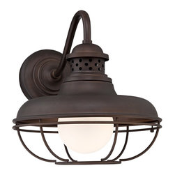 "Franklin Iron Works - Country - Cottage Franklin Park Metal Cage 16 "" High Bronze Outdoor Wall Light - This outdoor wall light has a vintage inspired look that matches any style of decor. A warm oil-rubbed bronze finish complements the industrial metal cage creating a sense of distinct elegance for your home. UL listed for damp locations. From Franklin Iron Works™. Oil-rubbed bronze finish. Metal cage. Maximum 60 watt or equivalent bulb (not included). 20"" wide. 16"" high.  Metal cage.  Oil-rubbed bronze finish.  Maximum 60 watt or equivalent bulb (not included).  16"" high.  15 1/4"" wide.  Extends 20"" from the wall.  Backplate is 7""."