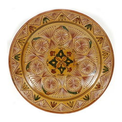"""Ceramic (Wood-fired) - Amber Carved Decorative Plate, 16"""" - Amber Carved 16"""" Decorative Plate"""