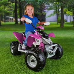 Peg Perego Battery Powered Pink Polaris Outlaw ATV - The young lady in your life will be eternally grateful for this thrilling Peg-Perego Battery Powered Pink Polaris Outlaw ATV. With two speeds and reverse it can travel at 2.5 mph 5 mph and get out of jams without you having to lift it up. High performance motors enable this riding toy to travel across grass dirt and gravel as well as smooth hard surfaces. A SmartPedal accelerator enables longer riding times smoother rides and safer braking. Great for kids up to 3 years of age. About Peg PeregoAfter the birth of his infant son in 1949 Giuseppe Perego was unhappy with the minimal selection of juvenile products and decided to design his own baby carriage. His wife added beautiful functional fabrics and the overall aesthetics caught the attention of other parents in the Peregos' small Italian neighborhood. They were inundated with requests by neighbors for carriages of their own and Peg Perego was born. Before long the company was introducing high chairs strollers and other juvenile products. With each new product the family commitment to quality continued. Always thinking forward Peg Perego has never rested on past products or designs; it continues to stay current with parents' changing needs and new research that highlights the health and safety of infants and juveniles.