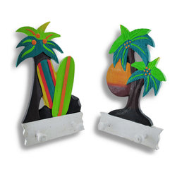Zeckos - Set of 2 Tropical Beach Palm Tree Wall Plaques with Pegs - These wall plaques add a fun accent to beach themed rooms while providing pegs to hang up lightweight items. One plaque showcases a sunset and the other features a couple of colorful surfboards leaned up against a palm tree. Made of wood and hand painted, each plaque measures 11 1/2 inches high, 7 inches wide, 2 1/2 inches deep and easily mounts to the wall with a single nail or screw. They look great in children's rooms and tiki bars or displayed on porches or patios.
