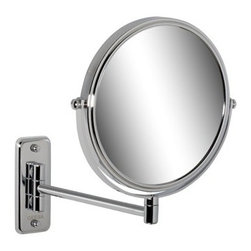 Geesa - Wall Mounted Chrome Round 5x Magnifying Mirror - Contemporary style wall mounted magnifying mirror with 5x magnification. Made of glass and brass with a chrome finish. Wall mounted magnification mirror. 5x magnification. Made of glass and brass in a chrome finish. From the Geesa Mirror Collection.