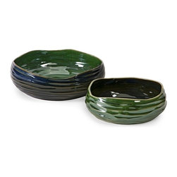 Cavalla Double Glaze Bowls - Set of 2 Green Blue - *With deep blue and green multi-dimensional finishes, the Cavalla bowls feature alternating colors in a small and large size for a simply beautiful transitional look.