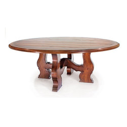 """Tuscan Round plank dining table - Tuscan round plank top dining table with a custom designed hand carved base. The top is 90"""" diameter ( seats 11) and can be made to accommodate (1) 24"""" leaf"""