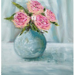 Four Pink Peonies (Original) by Emma Bell - Four Pink Peonies in a white vase on a white table in front of some white curtains. Very subtle colors used to create the white and shadows. All created with brush and palette knife in oil on canvas.