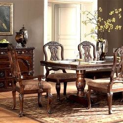 Millwood by ivgStores - 7 Pc Dining Set - North Sea Collection - You are going to love with this seven piece set in your formal dining area. It features a double pedestal table and six matching chairs with comfortable upholstered seats. All items have ornate detailing and a dark brown finish for added elegance and appeal. Collection: North Sea. Set includes Double Pedestal Table Base, Extension Pedestal Table Top, and 6 Side Chairs. Server sold separately. Color/Finish: Dark Brown. Constructed with select hardwood veneers, hardwood solids and furniture grade resin. Table Top: 44 in. W x 73-109 in. L x 30 in. H. Side Chair: 22 in. W x 22 in. L x 44 in. H
