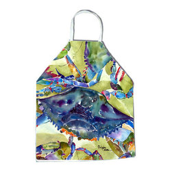 """Caroline's Treasures - Crab All Over Apron - Apron, Bib Style, 27""""H x 31""""W; 100% Ultra Spun Poly, White, braided nylon tie straps, sewn cloth neckband. These bib style aprons are not just for cooking - they are also great for cleaning, gardening, art projects, and other activities, too!"""