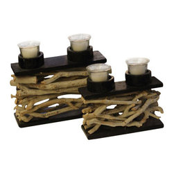 ParrotUncle - Rustic Tea Branch Decorated Candle Holder 2 pieces Set - Celebrate the beauty of nature in your home with the artful tree branch candle holder.Natural tea tree branches are gathered in the forest,cleaned and washed to create this set of candle holders. Tea tree branch craft candle holder