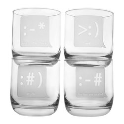 Rolf Glass - Txt U Room Tumbler 10oz, Set of 4 - Think texting's just for teens? Maybe so, but these fun tumblers manage to your message across with playful etched emoticons on each glass. Perfect for a casual cocktail hour.