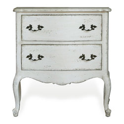 Eloquence - Clementine French Country Antique White 2 Drawer Nightstand End Table - This handsome Louis XV-inspired nightstand adds shapely style to any bedroom. With deep drawers and curved cabriole legs, the overall statement is one of effortless beauty, married with practicality.