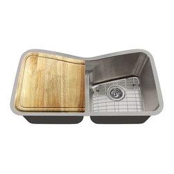 Polaris Sinks - Polaris P335 16 Gauge Kitchen Ensemble - Polaris P335 16 Gauge Ensemble (6 Items: Sink, 2 Standard Strainers, 2 Sink Grids, Cutting Board