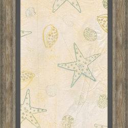 Soicher-Marin - Sea Stars & Shells C - Giclee print with a traditonal rustic distressed grey wooden frame with a grey linen liner.  Includes glass, eyes and wire. Made in the USA. Wipe down with damp cloth