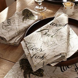 """Witches Brew Spell Dinner Napkin, 22"""", Set of 4 - Lest you forget, our bewitched napkins have all the ingredients for a fearsome brew. 20"""" square Woven of a linen/cotton blend. Monogramming is available at an additional charge. Monogram will be placed at one corner of each napkin. Set of 4. Machine wash. Imported. Catalog / Internet only."""