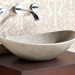 Avanity Corporation - Stone Vessel in Oval Gray Marble - Above counter oval stone vessel in solid black granite. Gray Marble finish. Drain not included. 20 in. W x 16 in. D x 6 in. H