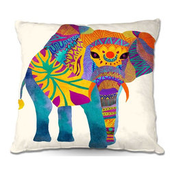 DiaNoche Designs - Pillow Woven Poplin by Pom Graphic Designs Whimsical Elephant I - Toss this decorative pillow on any bed, sofa or chair, and add personality to your chic and stylish decor. Lay your head against your new art and relax! Made of woven Poly-Poplin.  Includes a cushy supportive pillow insert, zipped inside. Dye Sublimation printing adheres the ink to the material for long life and durability. Double Sided Print, Machine Washable, Product may vary slightly from image.