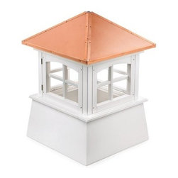 Good Directions Huntington Vinyl Cupola - The Good Directions Huntington Vinyl Cupola crowns your country or cottage style home with a quaint, cheeky charm. This handsome cupola features a unique look designed by modern craftsmen that sets your house apart from others in the neighborhood with only a few minutes of set up. The slanted roof is made from 24-gauge copper and can support a weathervane. The base is made using solid vinyl planks and boards for a sturdy foundation that won't warp in extreme weather. The base is unfinished, letting you customize with your own colors. 22, 26, 30, 36, 42, 48, 54, 60, 72, and 84-inch square units are available to choose from. Instructions for mounting the unit are included. Mounting hardware for a weathervane attachment is also included. About Good DirectionsGood Directions got its start by creating weathervanes and cupolas, but it has expanded its line to include a wide range of decorative yet functional products for the home and garden, including popular Fire Domes, rain chains, and garden weathervanes. The company continues to attract innovative artists and designers eager to lend their vision to the creation of exceptional products to enhance the home, both indoors and out. No matter which way the wind blows, you can count on Good Directions to show you the way to a beautiful home.