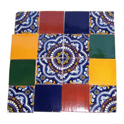 "Casa Daya - 16 Hand Painted Made to Order Talavera Tile Set - Set of sixteen 4"" x 4"" tiles for your craft or construction project."