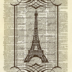 Altered Artichoke - Eiffel Tower Fancy Scroll Frame Dictionary Art Print, Sepia - This print features our exclusive design of the Eiffel Tower in Paris with words printed behind it in a fancy scroll frame. C'est magnifique!