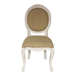 """Noir - Noir Isabelle White Wash Side Chair - Featuring natural, simple and classic designs, Noir products supply a timeless complement to a variety of interiors. Intricate detailing along the Isabelle side chair's curved frame maximizes the seating's traditional aesthetic. Nailhead trim provides a modern metallic edge, while a white-washed finish over mahogany wood creates a natural accent for dining rooms. Available in olive cotton fabric.  21""""W x 23""""D x 40""""H."""