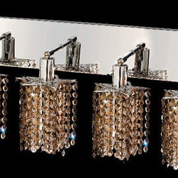 Elegant Lighting - Mini Star Chrome Four-Light Bath Fixture with Royal Cut Golden Teak Smoky Crysta - Royal Cut crystal is a combination of high quality lead free machine cut and machine polished crystals and full-lead machined-cut crystals to meet a desirable showmanship of an authentic crystal light fixture.  -Recommended to be professionally hung and supported independently of the outlet box. Consult an electrician for guidance to determine the correct hanging procedure.  -Crystals may ship separately and some assembly is required.  -Depending on the size & design the assembly can be time consuming, but is well worth the effort. Elegant Lighting - 1284W-O-P-GT/RC