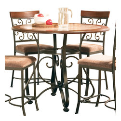"""Steve Silver Furniture - Steve Silver Thompson Round Metal Counter Table with Faux Marble Inlay - The bright and airy Thompson Dining collection gives any space a charming Mediterranean flair with its intricate wrought iron swirls. The Thompson counter height table is 45"""" round, features a stunning faux marble inlay and black wrought iron metal base. Add the Thompson counter height chairs and you can seat 4 comfortably."""