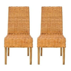 Safavieh - Sanibel Side Chair (Set Of 2) - Honey - The transitional rattan Sanibel Side Chair brings a soft touch to contemporary interiors in need of warmth. Crafted with mango wood and beautifully woven rattan finished in a honey tone, this durable chair is at home in dining rooms, kitchens and casual living spaces. (Sold in a set of two)