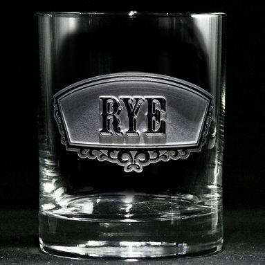 Rye Whiskey Glass - Personalized custom whiskey, scotch and bourbon glasses are the perfect gift for bridal shower, engagement, wedding, birthday and for the man or woman who has everything. Real estate agents and interior designers often give our personalized barware to special clients as housewarming or thank you gifts. Not engraved, but deeply sand carved, each of our glasses is hand crafted. The background is carved away, leaving the monogram and design raised from the glass in a 3D manner. Simply exquisite. Crystal Imagery