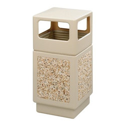 """Safco Products - Canmeleon Side-Open Square Receptacle, 38 Gal - Striking design will add beauty and serviceability to your """"first impression"""" areas. Rugged plastic won't chip or dent. UV inhibitors limit fading in sunlight. Adaptable for anchoring and weighting devices. Uses standard 32"""" X 44"""" trash bags. Telescoping base hides bag. Panels feature decorative aggregate stone design. Features: -Waste receptacle type: Trash container. -Color(s): Black. -Finish: Textured with Aggregate Panels. -Material(s): Polyethylene. -Warranty: Lifetime. -Capacity (volume): 38 Gallon. Dimensions: -Opening: 6"""" H x 13"""" W. -Overall: 41"""" H x 18"""" W x 18"""" D, 43 lbs."""
