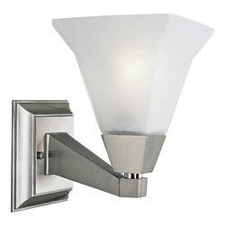Progress Lighting - Progress Lighting P3135-09 Glenmont Single-Light Bathroom Sconce with Square - Progress Lighting P3135 Glenmont Bathroom Light / Wall Sconce