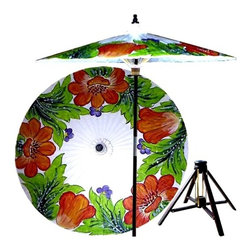 Oriental Unlimted - Far East Garden Patio Umbrella in Rambuttan W - Includes Bamboo stand. Handcrafted and hand-painted by master artisans. 100% Waterproof and extremely durable. Umbrella shade can be set at 2 different heights, 1 for maximum shade coverage and the other for a better view of the shade. An optional base, which secures the umbrella rod and shade against strong winds and rain. Patio umbrella rod and base is constructed of stained oak hardwood for a rich look and durable design. Umbrella shade is made of oil-treated cotton. Minimal assembly required. Canopy: 76 in. D x 84 in. HThis light-hearted and vibrant patio umbrella depicts a grove of wild flowers, suggesting prosperity and plenty. This 100% waterproof umbrella makes for a spectacular display in any outdoor setting and will provide plenty of protection from the sun and rain.