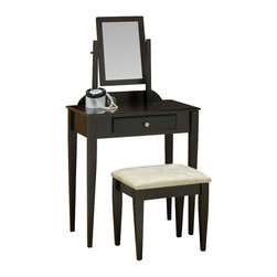 Monarch Specialties - Monarch Specialties I 3370 Cappuccino 2 Piece Vanity Set w/ Micro-Fibre Stool - This stylish contemporary vanity set will be a fabulous addition to your bedroom or dressing area. Create a peaceful space to get ready for your day, or a great place to dress for a fun night out. This piece features smooth lines, shaker legs, a vertical swivel mirror, and a center drawer to keep brushes and other objects. Finished in a rich cappuccino tone and accented with a silver brushed knob, this vanity set will add sophistication to any room. The matching stool features sleek wooden legs, accompanied with a comfortable padded fabric covered seat. Vanity (1), Vanity Stool (1)