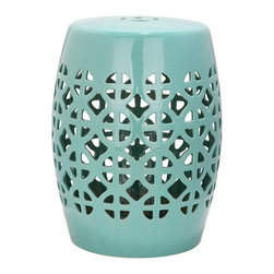 Safavieh - Safavieh Paradise Tranquility Light Blue Ceramic Garden Stool - This multifunction ceramic garden stool is a good addition to your home furnishings. It features a handmade high-quality ceramic construction and can serve as an extra seat for your guest, small table, cocktail table, plant stand, or as a foot rest.