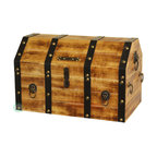 Large Wooden Pirate Trunk with Lion Rings - Our warm and welcoming steamer trunk brings back days of old time. Remember how excited you are when you were a little kid to look into your grandma's old chest, our decorative trunks will bring back those memories and help you create some new ones too. Our hope chest boxes are all handcrafted and tailored to enhance the existing decor of any room in the home. Great to use for your very own treasure chest!