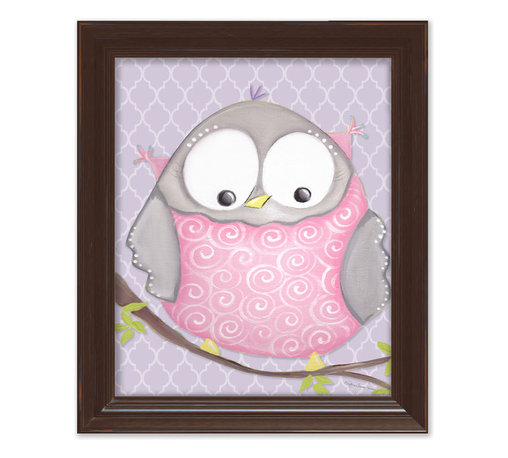 """Doodlefish - Octavia Owl in Brown Frame - 15""""x18"""" Framed Giclee of a happy pink and grey owl on a happy lavender or pale pink background with a modern geometric pattern. Artwork is available in various frame choices."""