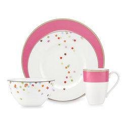 kate spade new york Market Street Pink Dinnerware - Kate Spade does it again! Add some whimsy to your Valentine brunch with these confetti-splashed pink plates. Your food will look so festive. What I love about this set is that you can easily use it for a bridal shower, a baby shower and a birthday party, too.