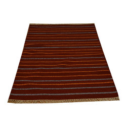 1800-Get-A-Rug - Hand Woven 100% Wool Rust Red Striped Durie Kilim Flat Weave Rug Sh15809 - The Flat Weave hand woven rug is a type of hand-knotted area rug created by weaving wool onto a foundation of cotton warps on a loom. The Flat Weave rug offers the same beauty and durability as the classical thick-pile Oriental rugs, but without the telltale thick pile often spotted in other rugs. This gives the Flat weave a thin and flat appearance which resembles the Needlepoint, making them wonderfully ideal choices as accent rugs, wall hangings, or to drape over furniture and staircases.