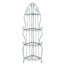 Benzara - Corner Rack with Conventional or Modern Style - Flaunt your treasured showpieces, frames or vases with this fashionable designed metal rack. Bring home this metal corner rack and keep your cherished showpieces and books on it for display. A blend of amazing looks and functionality, this metal corner rack is made of sturdy metal that offers it extra long life and durability. Due to its high-quality, abrasion-resistant metal and functional design, this metal rack can be easily used for your outdoors. Available in black color with abrasion resistance quality, you can keep the corner rack in your room or garden area as well. Whether you have a conventional home or a modern style setup, this sleek designed metal rack fits any backdrop perfectly. It has beautiful curved legs and four designer shelves that deserve all your attention. You can place it anywhere desired as it is easily movable, compact and appealing to the eyes.