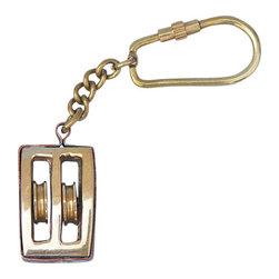 "Handcrafted Model Ships - Brass Pulley Key Chain 5"" - Nautical Key Chain - This nautical-themed key chain is both adorable and functional, featuring a brass double-pulley key fob. Crafted from solid brass, this key chain is as beautiful as it is durable and functional. A knurled knob allows you to easily and securely add or remove keys from the ring. These wonderful key chains make ideal gifts for friends, family, employees, clients, co-workers, and especially yourself."