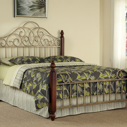 None - St. Ives King-size Bed - French Country design characteristics are highlighted in the St. Ives king-size bed. The brushed,aged gold metalwork over powder-coated steel found on the headboard,footboard,and frame.