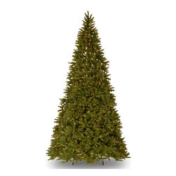 National Tree Company - 10.5 ft. Feel Real Fraser Fir Medium Hinged Christmas Tree - Clear Multicolor - - Shop for Holiday Ornaments and Decor from Hayneedle.com! Wide and tall the 10.5 ft. Feel Real Fraser Fir Medium Hinged Christmas Tree - Clear is a Christmas tree deserving of your carefully-designed holiday decor. Ideal for both indoor and outdoor use this faux Fraser fir is supported by a durable metal trunk. Hinged branches and a three-piece sectional design make assembly and storage a cinch. The branches are tipped with hypoallergenic and flame-resistant PVC providing a full realistic look. Illumination is provides by over 1 000 UL-rated lights. The light-strings features a ready-lit design that won't go dark even if individual bulbs burn out. Extra bulbs and fuses are included. A reusable storage carton and foldable metal tree stand are included.About National Christmas ProductsNational Christmas Products isn't quite Santa's workshop but they're getting closer with each passing year. A variety of holiday decor products are offered by the company including wreaths garlands Christmas trees and more. Each of the greenery products are artificial for a long-lasting indoor/outdoor design but feature a Feel-Real aesthetic that's nearly indistinguishable from a fresh-cut tree. Several sizes and colors of trees are available with many pre-lit options. Whatever your need National Christmas Products is here to serve.