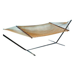 Classic Caribbean Style Tan Rope Hammock w/ Wood Spreaders - Caribbean Rope Hammocks are the classic hammock style. This beautiful tan Caribbean rope hammock is hand woven from soft spun polyester. Unlike similar cotton rope hammocks, it will not rot, mold or mildew. 8mm triple ply rope is used for extra durability. The hardwood spreader bars have multiple coats of marine varnish to protect them from the elements and is a full 55 inches wide giving plenty of room for 2 adults. This hammock is easy to hang from any 2 points 12ft or more apart. NOTE: It does not come with stand or mounting hardware.