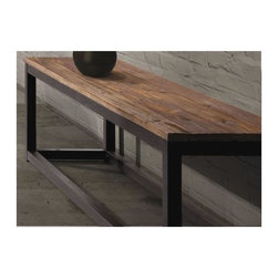 Zuo Modern - 59 in. Bench in Distressed Natural Finish - Long and thick elm wood planks. Antique metal base. Warranty: One year. Minimal assembly required. 59 in. L x 15.7 in. W x 17.7 in. H (46.2 lbs.)