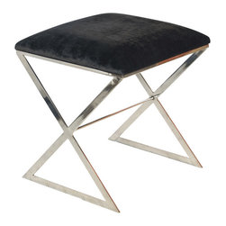 Worlds Away - Worlds Away - X Side Stool With Upholstered - X Side, Black With Gold Leaf - Worlds Away - X Side Stool with Upholstered - X SIDE