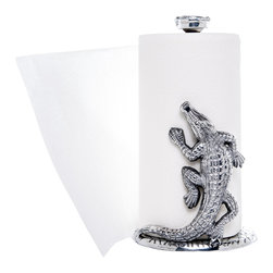 Arthur Court Designs - Alligator Paper Towel Holder - Wash by hand with mild dish soap and dry immediately. Product not intended as cookware. Can withstand 350 F. Refrigerator and freezer safe.