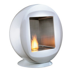 """Q Modern Ventless Designer Indoor or Outdoor Fireplace - Because this fireplace runs on denatured ethanol and has the coolest spherical shape, it was named the """"Coolest Green Product"""" by New York Magazine in 2009. What a perk for such a well designed product, that it is also a sustainable one. Perfect for indoors or outdoors, the fireplace is an all around winner."""