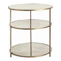 ARTERIORS Home - Percy End Table - With a nod to Hollywood Regency style, the airy design of the round Percy side table by Arteriors is an easy addition to modern interiors. Light-reflecting antiqued mirror shelves and an antiqued brass finish on its delicate frame add depth to the piece'' s simple tiered shape. Features: -Iron and mirror.-Two additional shelves.-Antiqued brass and antiqued mirror finishes.-Distressed: No.Dimensions: -28'' Dia x 30'' H.