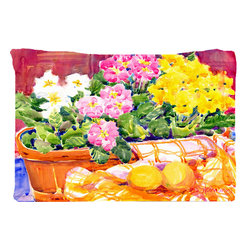 Caroline's Treasures - Flower - Primroses Fabric Standard Pillowcase Moisture Wicking Material - Standard White on back with artwork on the front of the pillowcase, 20.5 in w x 30 in. Nice jersy knit Moisture wicking material that wicks the moisture away from the head like a sports fabric (similar to Nike or Under Armour), breathable performance fabric makes for a nice sleeping experience and shows quality.  Wash cold and dry medium.  Fabric even gets softer as you wash it.  No ironing required.